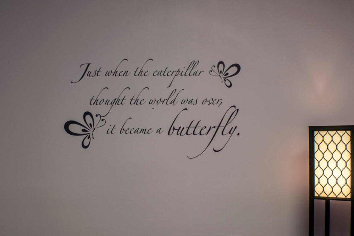 Inspiration wall in massage room